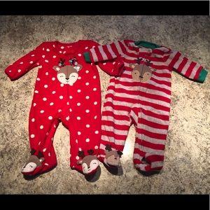 3mo Christmas footie pajamas- pair
